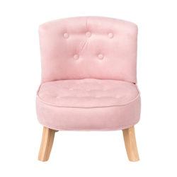 Veliūrinis krėslas vaikams, rožinės spalvos
